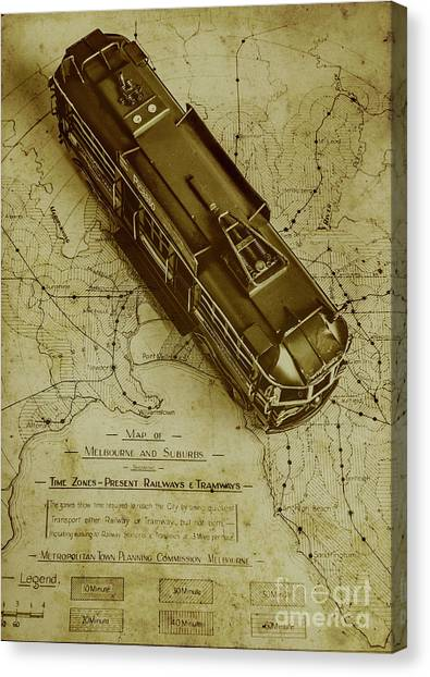 Vintage Railroad Canvas Print - Replicating Past Tram Transit by Jorgo Photography - Wall Art Gallery