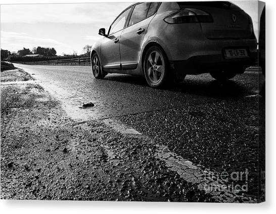 Brexit Canvas Print - republic of ireland car traffic crossing the irish border between Northern Ireland and Republic of I by Joe Fox