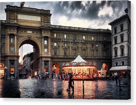 Republic Square In The City Of Florence Canvas Print