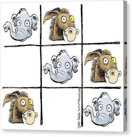 Canvas Print featuring the drawing Republicans Win Tic Tac Toe by Daryl Cagle