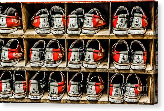 Bowling Shoes Canvas Print - Rentals by DeWayne Beard