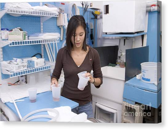 University Of Florida Canvas Print - Researcher Preparing Brine Shrimp by Inga Spence