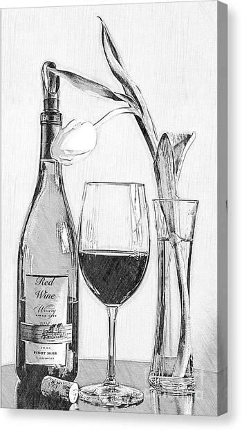 Reserved Table For One In Black And White Canvas Print