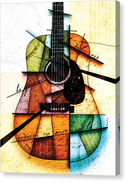 Guitars Canvas Print - Resonancia En Colores by Gary Bodnar
