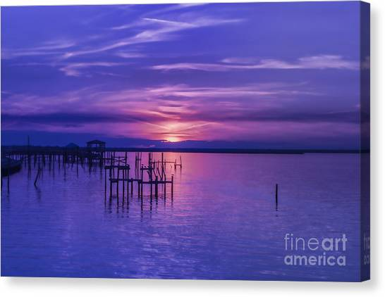 Rest Well World Purple Sunset Canvas Print