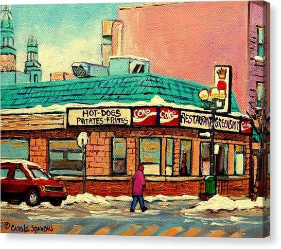 China Town Canvas Print - Restaurant Greenspot Deli Hotdogs by Carole Spandau