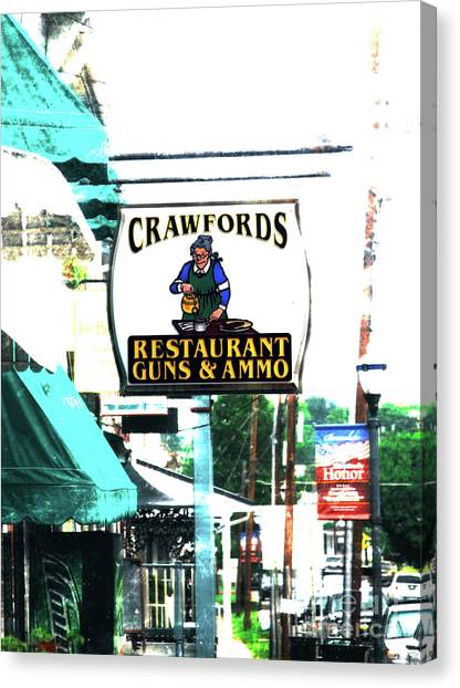 Restaurant Guns And  Ammo  Canvas Print by Steven Digman