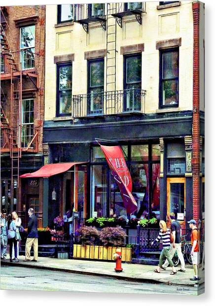 Fireescape Canvas Print - Restaurant In Chelsea by Susan Savad