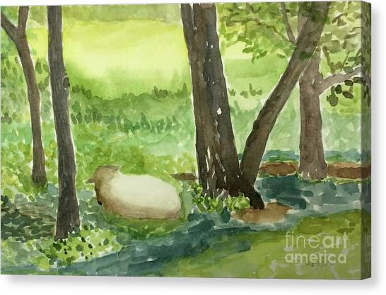 Restful Lamb Canvas Print by Sheryl Paris