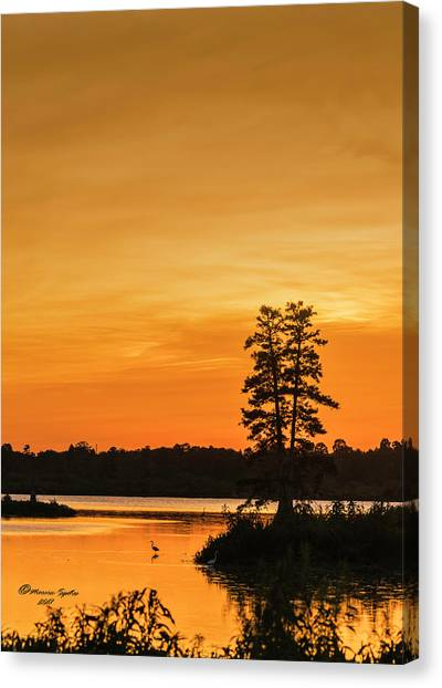 Lake Sunsets Canvas Print - Restful Night by Marvin Spates