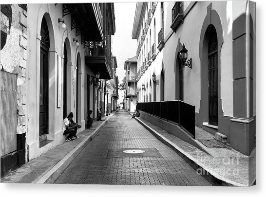 Resting In Casco Viejo Mono Canvas Print by John Rizzuto