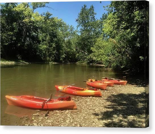 Resting Kayaks Canvas Print