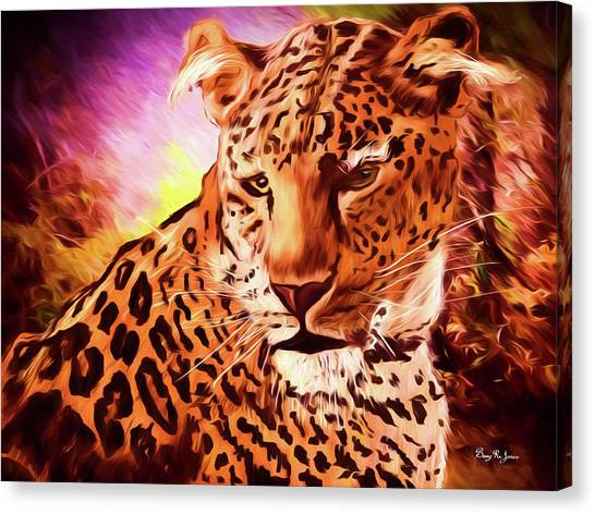 Canvas Print featuring the digital art Resting Leopard by Barry Jones