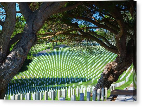 Fort Rosecrans National Cemetery Canvas Print - Peaceful Resting Place by Joseph S Giacalone