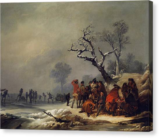 James Franco Canvas Print - Resting Society In Wintry Enjoyment by Treasury Classics Art