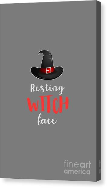 Canvas Print - Resting Witch Face Halloween Costume by Thomas Larch