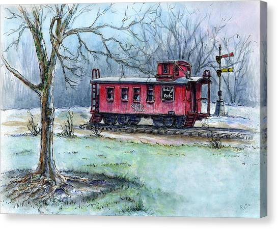 Retired Red Caboose Canvas Print