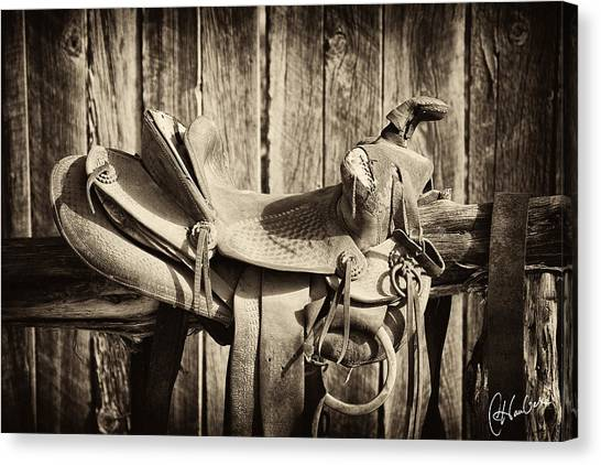 Saddles Canvas Print - Retired Saddle by Christine Hauber