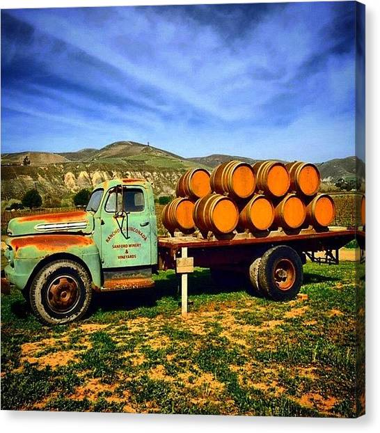 Wine Barrels Canvas Print - Retired Truck In Santa Ynez Valley by Adriana Barreto