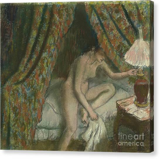 Edgar Degas Canvas Print - Retiring by Edgar Degas