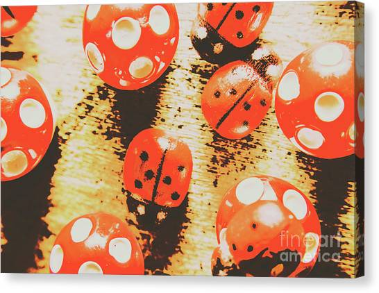 Ladybugs Canvas Print - Retro Art Bug by Jorgo Photography - Wall Art Gallery