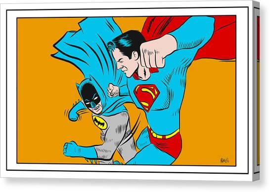Retro Batman V Superman Canvas Print