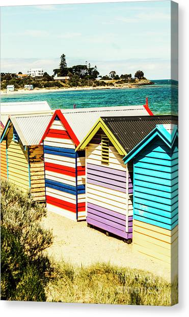 Bathing Canvas Print - Retro Beach Boxes by Jorgo Photography - Wall Art Gallery