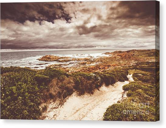Sandy Beach Canvas Print - Retro Beach Tracks by Jorgo Photography - Wall Art Gallery