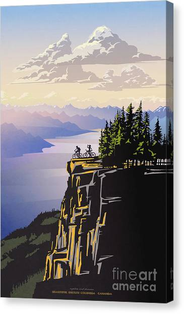 Canvas Print featuring the digital art Retro Beautiful Bc Travel Poster by Sassan Filsoof