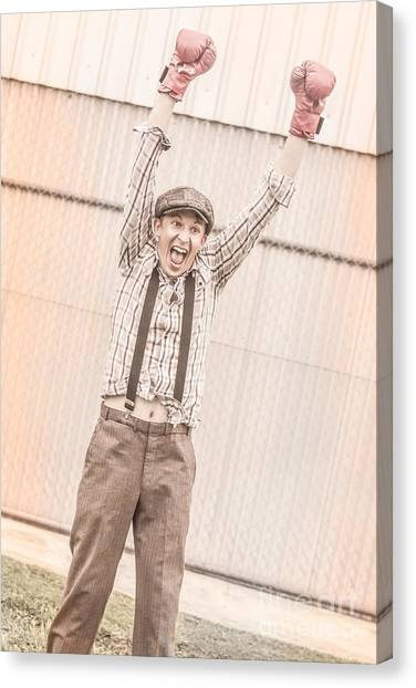 Knockout Canvas Print - Retro Boxing Champion Celebrating A Win by Jorgo Photography - Wall Art Gallery