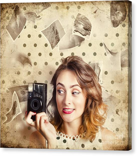 Vintage Polaroid Canvas Print - Retro Camera Girl With Instant Idea by Jorgo Photography - Wall Art Gallery