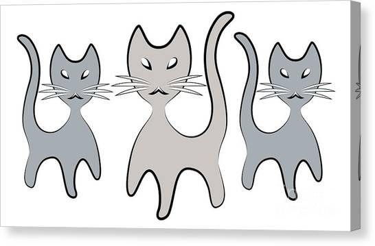 Retro Cat Graphic In Grays Canvas Print