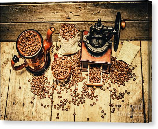 Espresso Canvas Print - Retro Coffee Bean Mill by Jorgo Photography - Wall Art Gallery