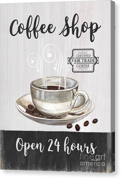 Bistros Canvas Print - Retro Coffee Shop 1 by Debbie DeWitt