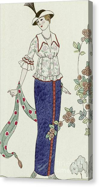 Fashion Plate Canvas Print - Retro Design For A Summer Dress by Georges Barbier