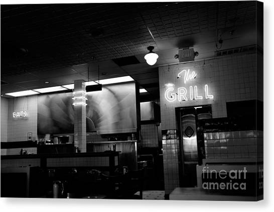 Retro Diner In Athens, Georgia -black And White Canvas Print