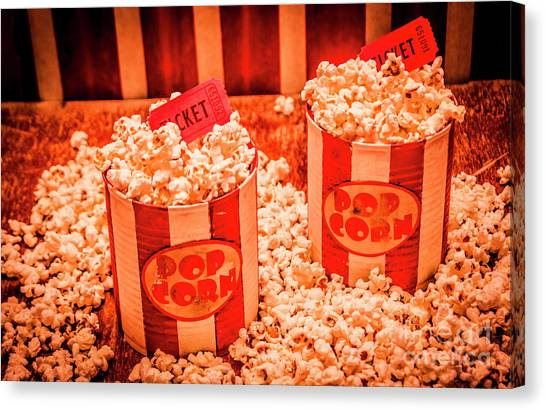 Popcorn Canvas Print - Retro Film And Entertainment Scene by Jorgo Photography - Wall Art Gallery