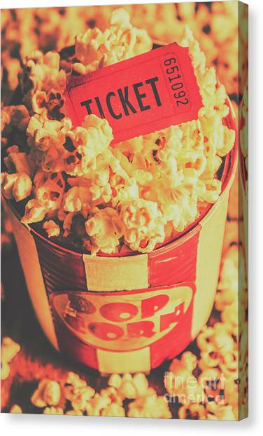 Popcorn Canvas Print - Retro Film Stub And Movie Popcorn by Jorgo Photography - Wall Art Gallery
