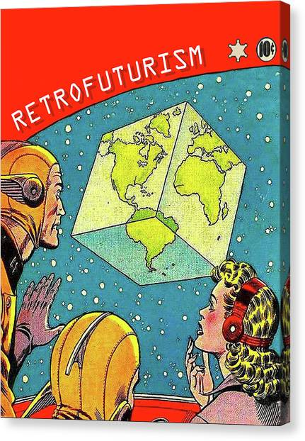 Futurism Canvas Print - Retro Futurism, Misery Of A Cube Planet Earth by Long Shot