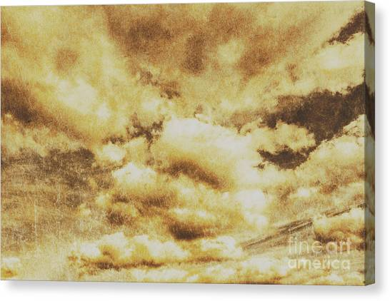 Evening Scenes Canvas Print - Retro Grunge Cloudy Sky Background by Jorgo Photography - Wall Art Gallery