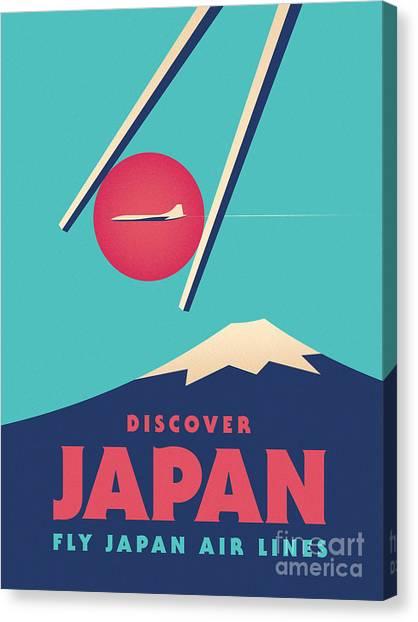 Travel Canvas Print - Retro Japan Mt Fuji Tourism - Cyan by Ivan Krpan