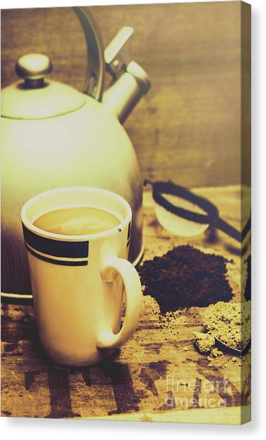 Soft Focus Canvas Print - Retro Kettle With The Mug Of Tea by Jorgo Photography - Wall Art Gallery