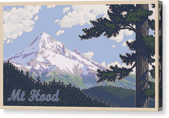 Oregon Canvas Print - Retro Mount Hood by Mitch Frey