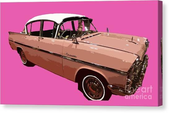 Retro Pink Car Art Canvas Print