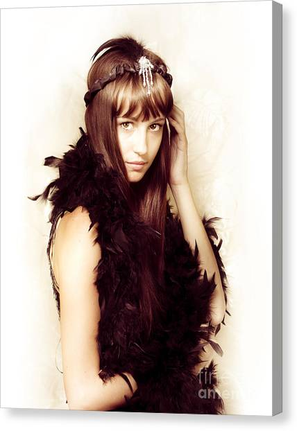 Boa Constrictors Canvas Print - Retro Showgirl In Feather Boa by Jorgo Photography - Wall Art Gallery