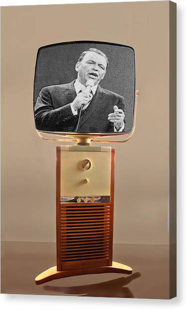 Retro Canvas Print - Retro Sinatra On Tv by Matthew Bamberg