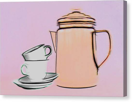 Coffee Canvas Print - Retro Style Coffee Illustration by Tom Mc Nemar