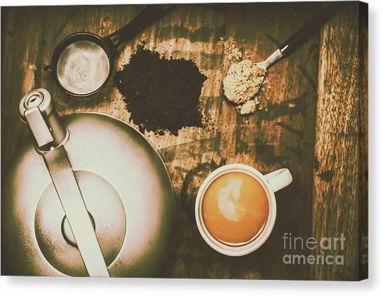 Tea Pot Canvas Print - Retro Tea Background by Jorgo Photography - Wall Art Gallery