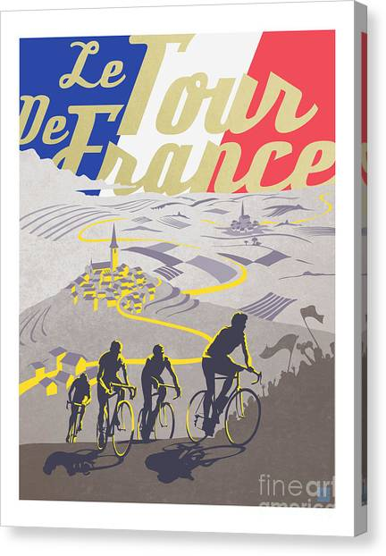 Canvas Print featuring the painting Retro Tour De France by Sassan Filsoof
