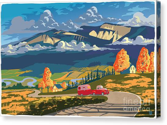 Canvas Print featuring the painting Retro Travel Autumn Landscape by Sassan Filsoof